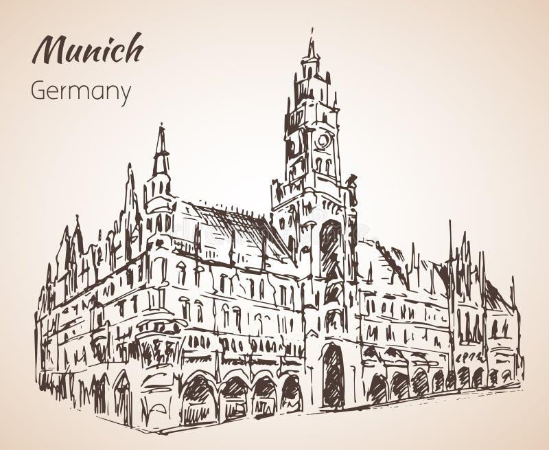 Neues Rathaus - новое Rathaus Германия munchen эскиз иллюстрация штока