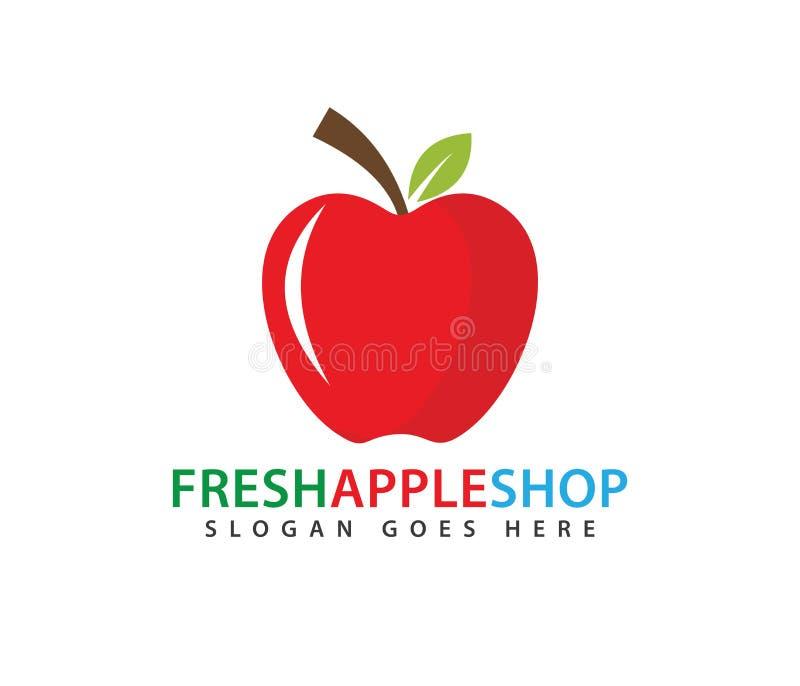Neues rotes Apfelfruchtvektor-Logodesign vektor abbildung