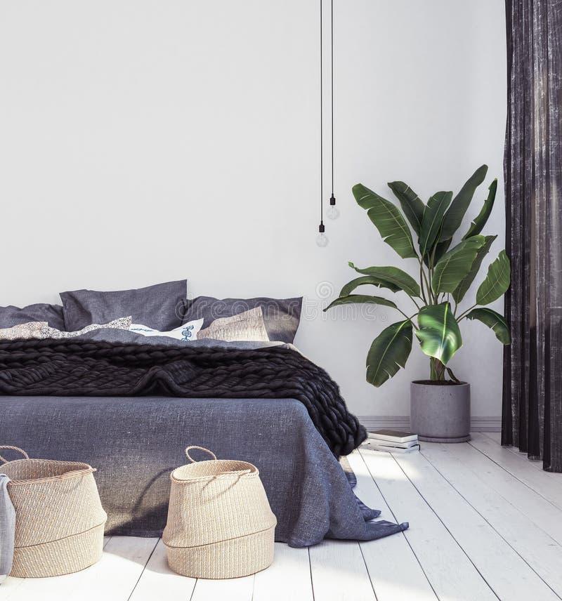 Neues skandinavisches boho Artschlafzimmer lizenzfreies stockfoto