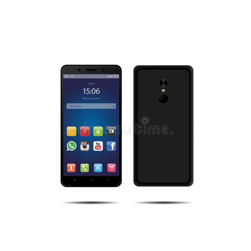 Neues Telefon vorder und schwarzer Vektor, der das Format eps10 lokalisiert auf weißem Hintergrund zeichnet stockbilder