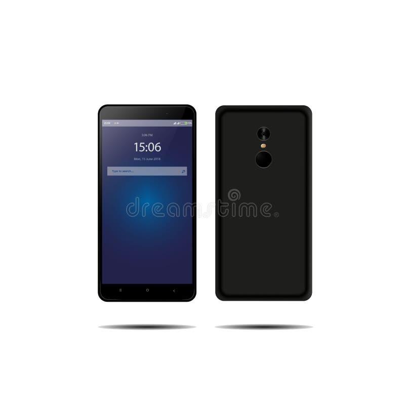 Neues Telefon vorder und schwarzer Vektor, der das Format eps10 lokalisiert auf weißem Hintergrund zeichnet stockfoto