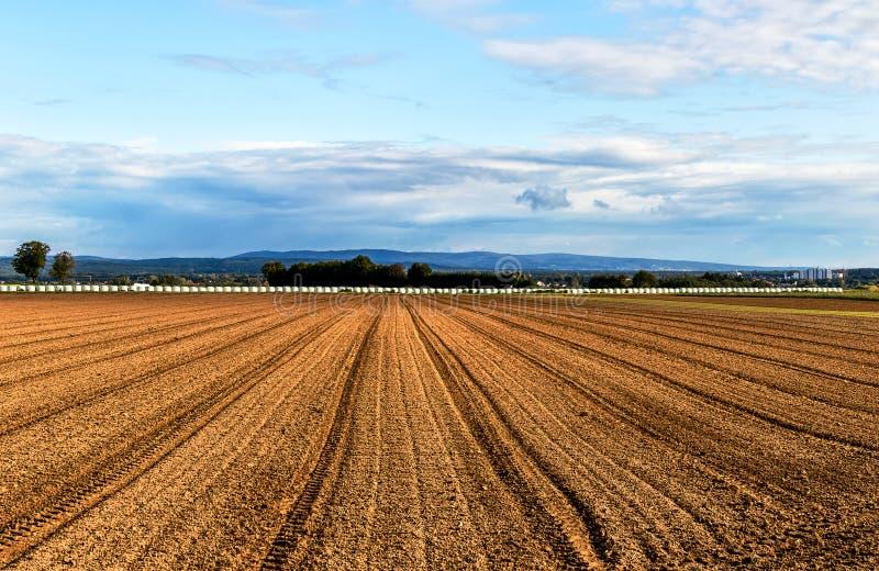 Neues vorbereitetes landwirtschaftliches herbstliches Feld lizenzfreies stockbild