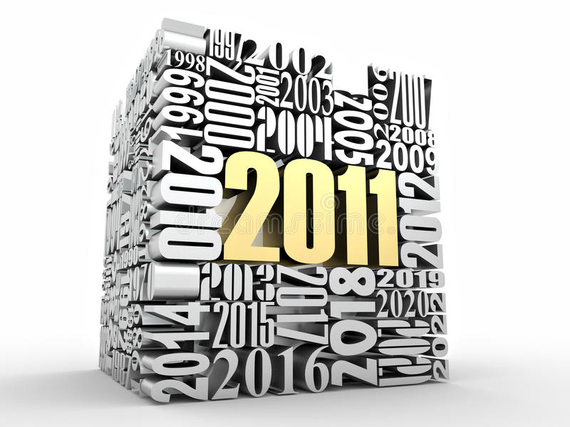 An neuf 2011. Cube comprenant les numéros illustration stock