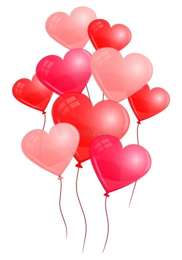 Neuf ballons rouges de coeur avec des ficelles assorties illustration de vecteur