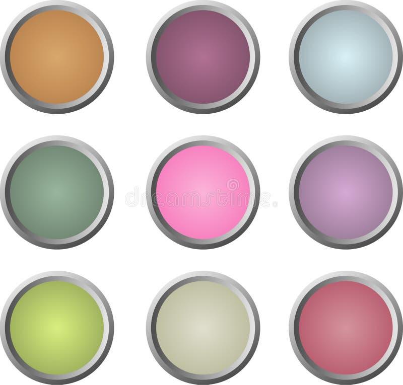 Neuf boutons doux-colorés de Web illustration de vecteur