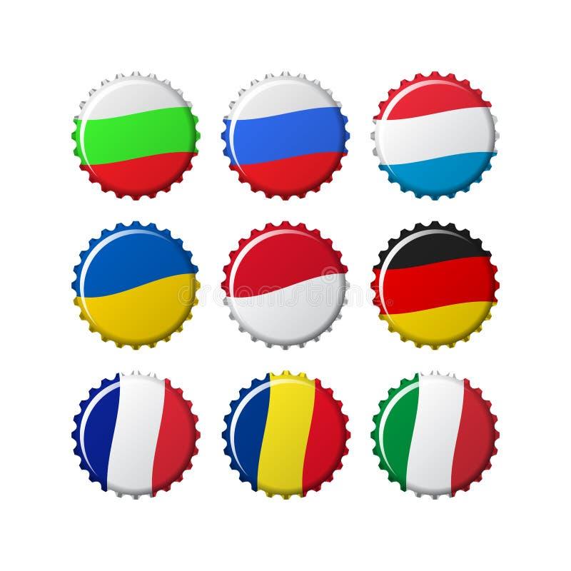 Neuf conceptions de capsule, basées sur des drapeaux de pays illustration stock