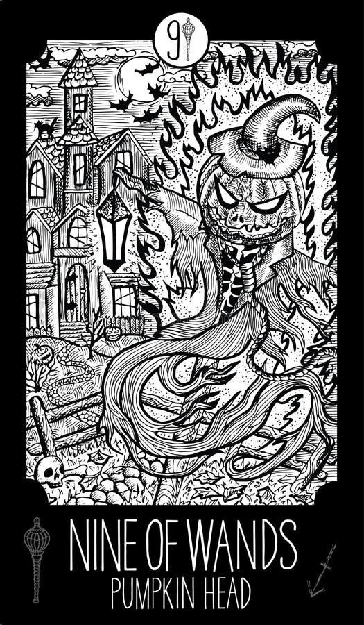 Neuf de baguettes magiques Tête de potiron illustration stock