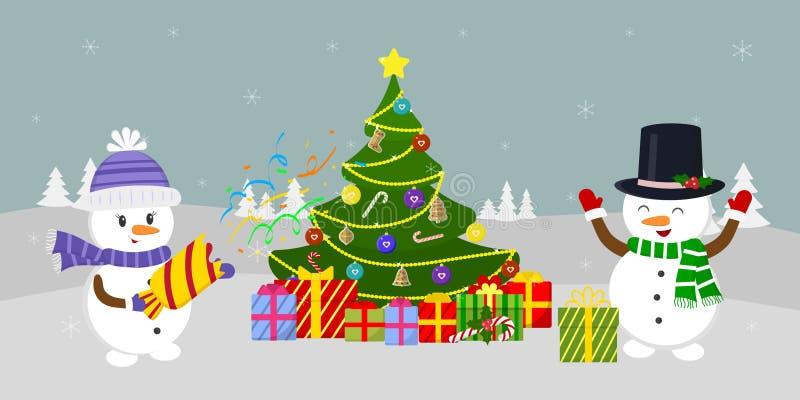 An neuf et carte de Noël  illustration de vecteur