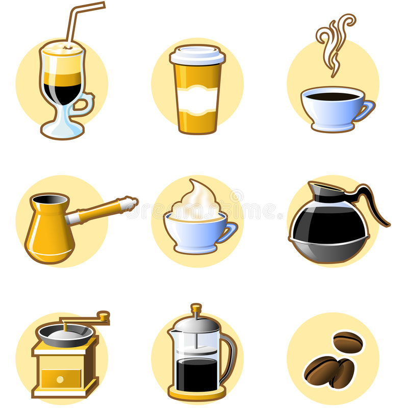 Neuf graphismes de café illustration de vecteur