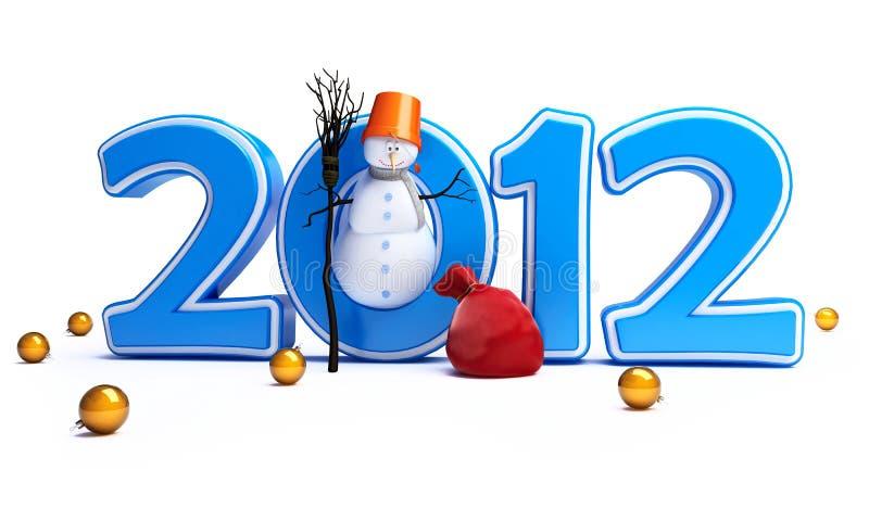 An neuf heureux 2012 de bonhommes de neige illustration de vecteur