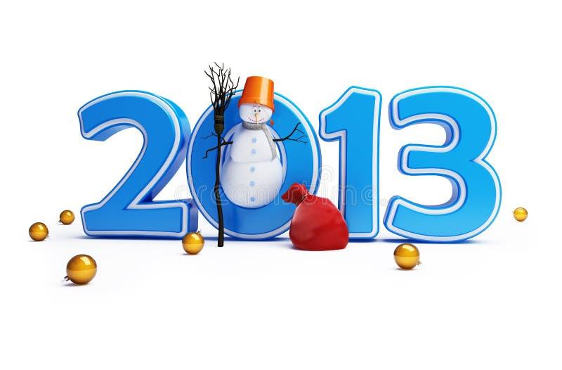 An neuf heureux 2013 de bonhommes de neige illustration de vecteur