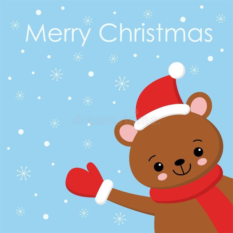 An neuf heureux Copie de patte de main de participation d'ours de Brown ?charpe rouge, chapeau Caract?re dr?le de b?b? de kawaii  illustration stock