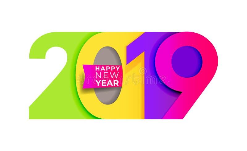 An neuf heureux Modèle coloré de typographie de conception des textes du nombre 2019 La conception pour l'affiche et les cartes d illustration libre de droits