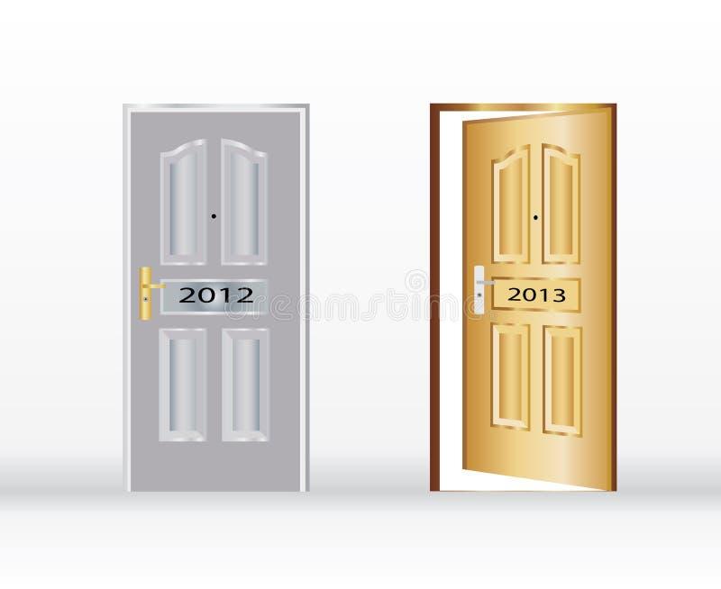 An neuf heureux symbolisé par une porte ouverte illustration stock