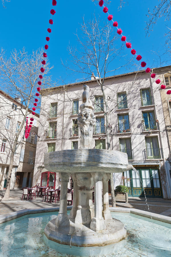 Neuf Jets Fountain at Ceret, France. Neuf Jets Fountain at Ceret, southern France royalty free stock photo