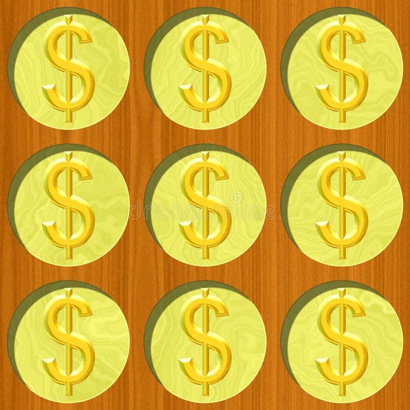Neuf pièces de monnaie du dollar d'or sur la texture en bois de modèle de bureau illustration libre de droits