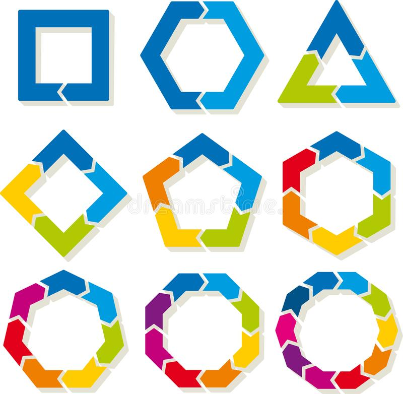 Neuf symboles de cycle D'une à huit et douze parts illustration stock