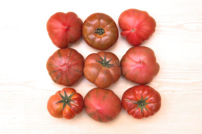 Neuf tomates naturelles sur un conseil en bois cru photo stock