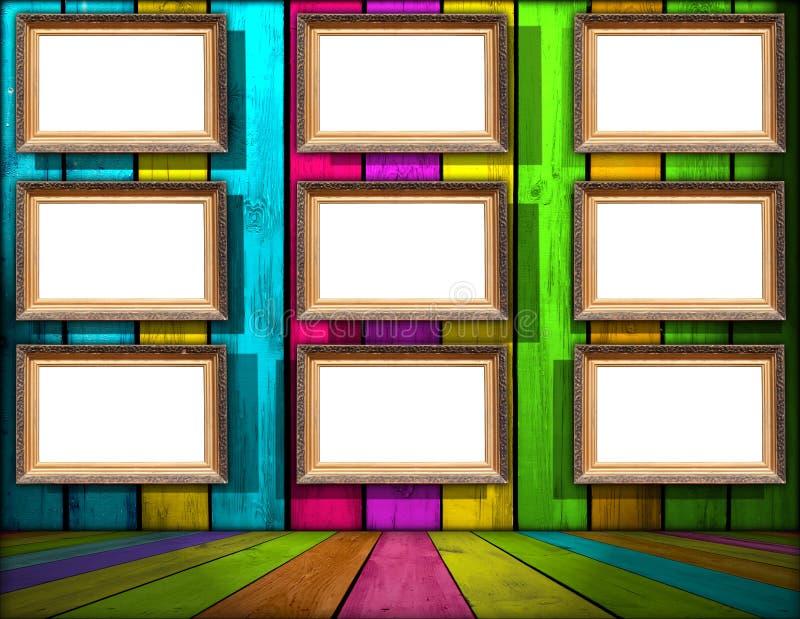 Neuf trames en blanc dans la pièce en bois multicolore illustration libre de droits