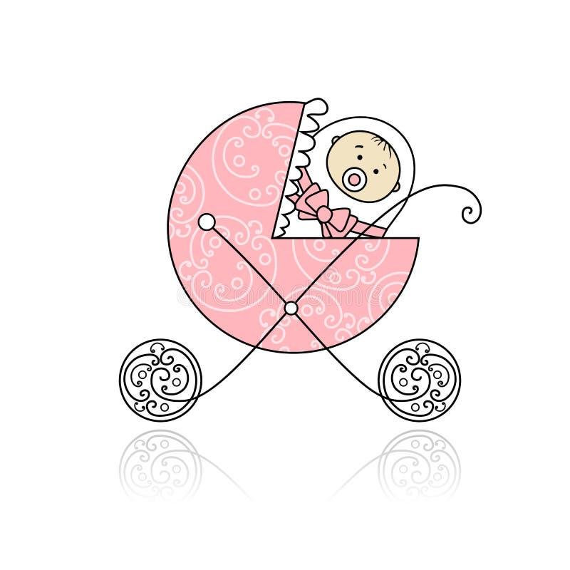 Neugeboren im Buggy des Schätzchens für Ihre Auslegung vektor abbildung