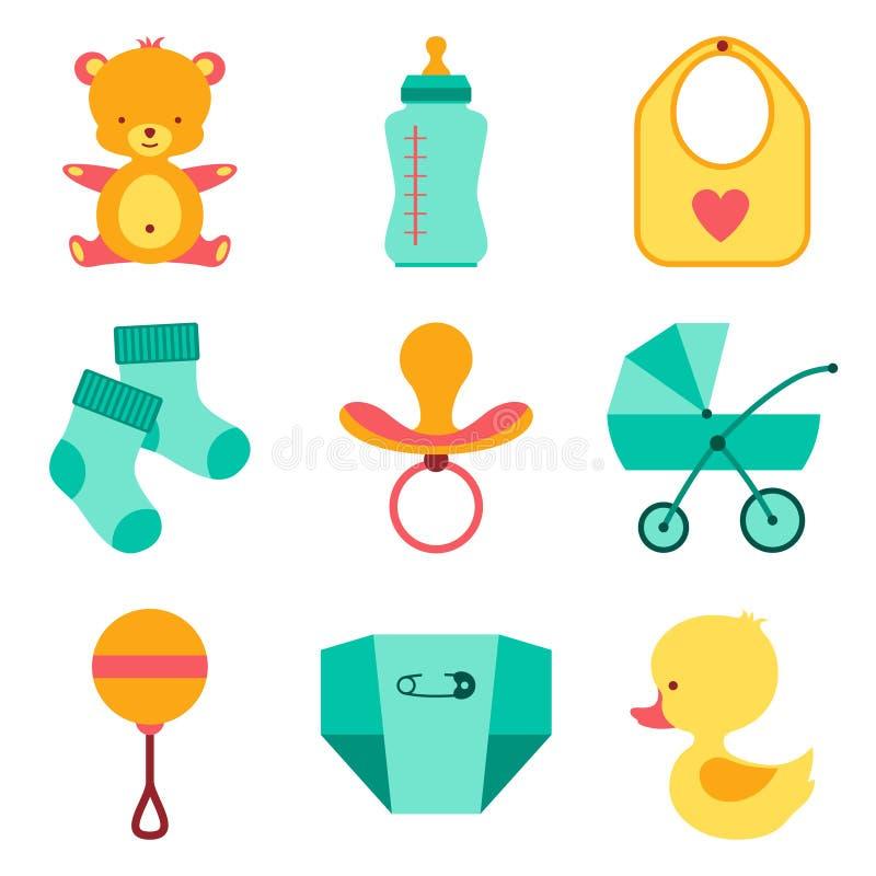 Neugeborene Babymaterialikonen eingestellt vektor abbildung