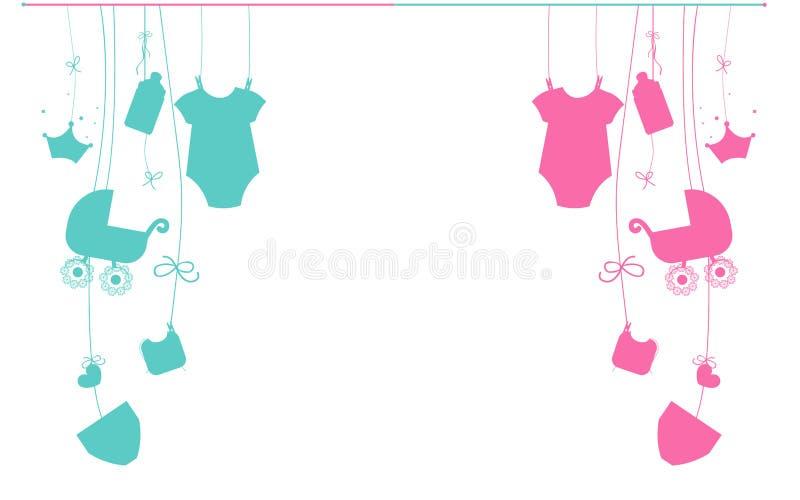 Neugeborene hängende Baby- und Babysymbole des Babys vektor abbildung