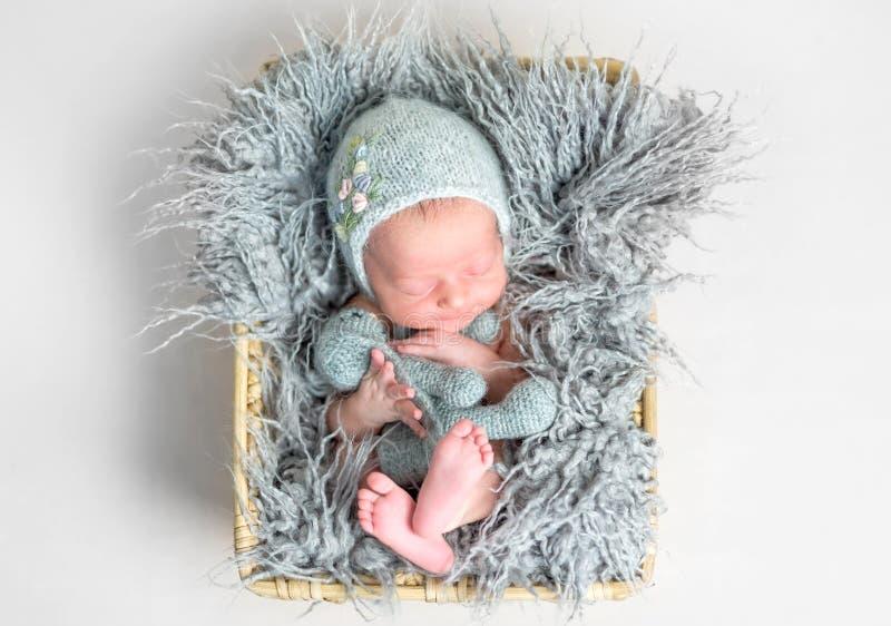 Neugeborenes Baby, das friedlich in einem Korb schläft stockfotos
