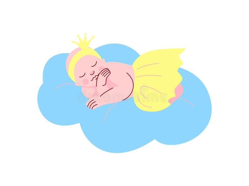 Neugeborenes Baby gekleidet als Prinzessin Sleeping auf Wolken-Vektor-Illustration lizenzfreie abbildung