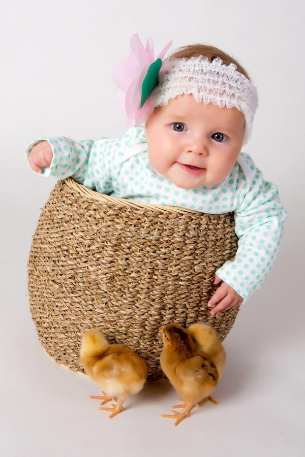Neugeborenes Baby mit Küken. stockbild