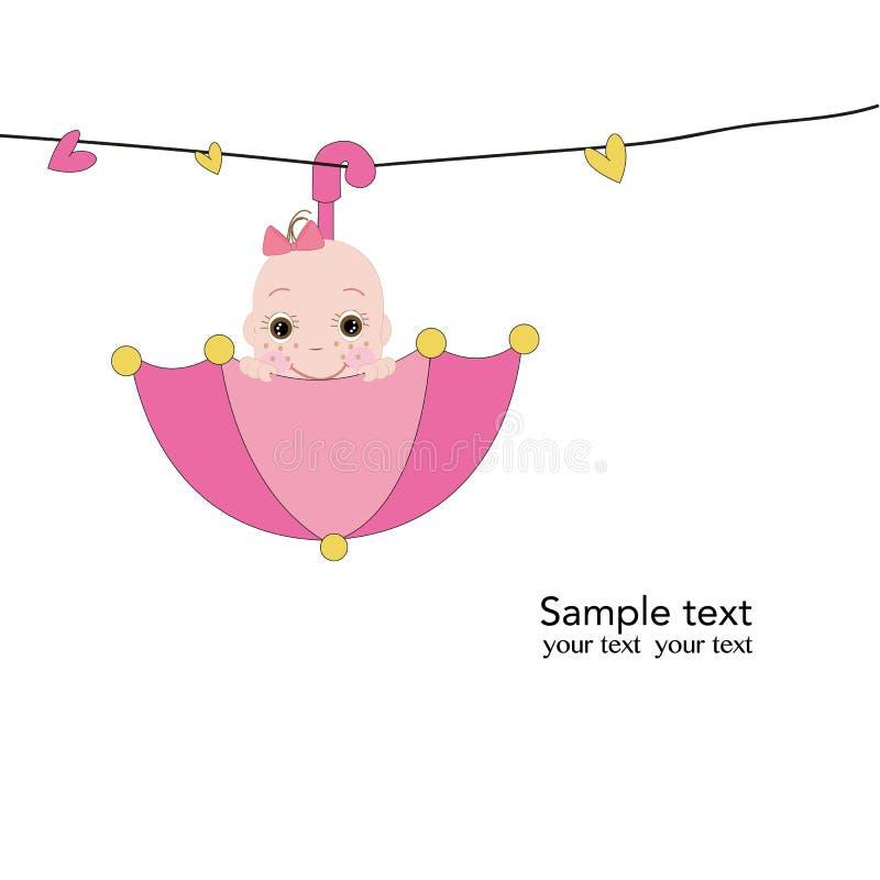 Neugeborenes Baby mit rosa Regenschirmgrußkarte stock abbildung
