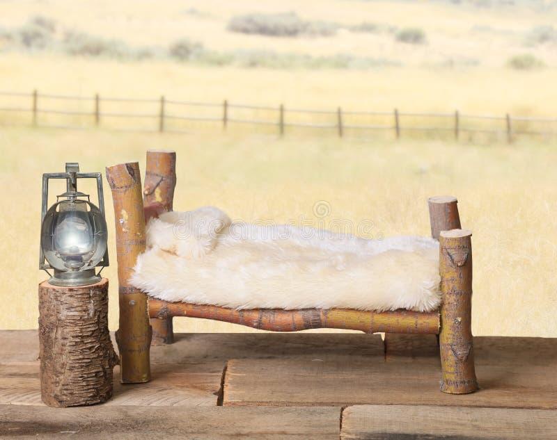 Neugeborenes Hintergrundstützen-Klotzbett mit Fauxbettdecke stockbild