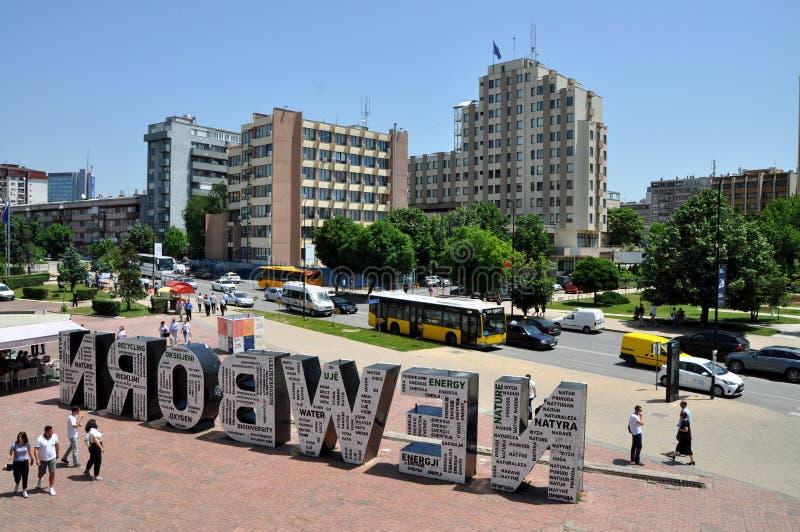 Neugeborenes Monument in Pristina, Kosovo lizenzfreie stockbilder