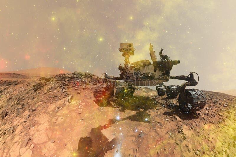 Neugier-Mars Rover, das den Oberflächenplaneten von Mars erforscht stockbild