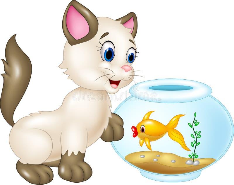 Neugierige Katze, die mit Schwimmenfischen auf weißem Hintergrund spielt stock abbildung