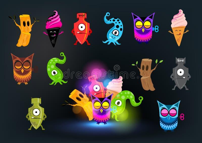 Neugierige Monster-Ansammlung Stockfotos
