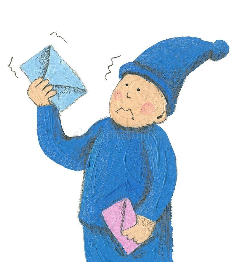 Neugieriger zwergartiger Briefträger stock abbildung