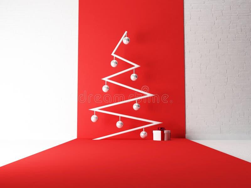 Neujahrsbaum mit Geschenk, 3d stockfotos