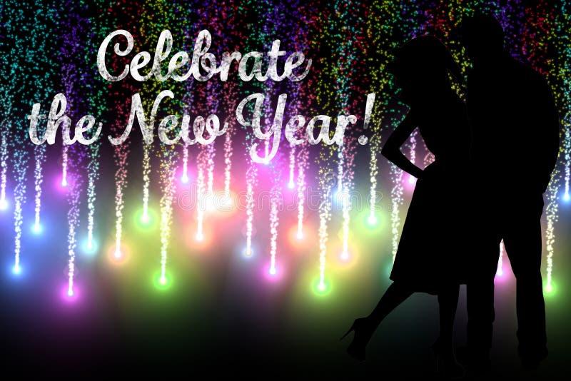 Neujahrsbotschafts-und Paar-Schattenbild auf Feuerwerks-Hintergrund-Design lizenzfreie abbildung
