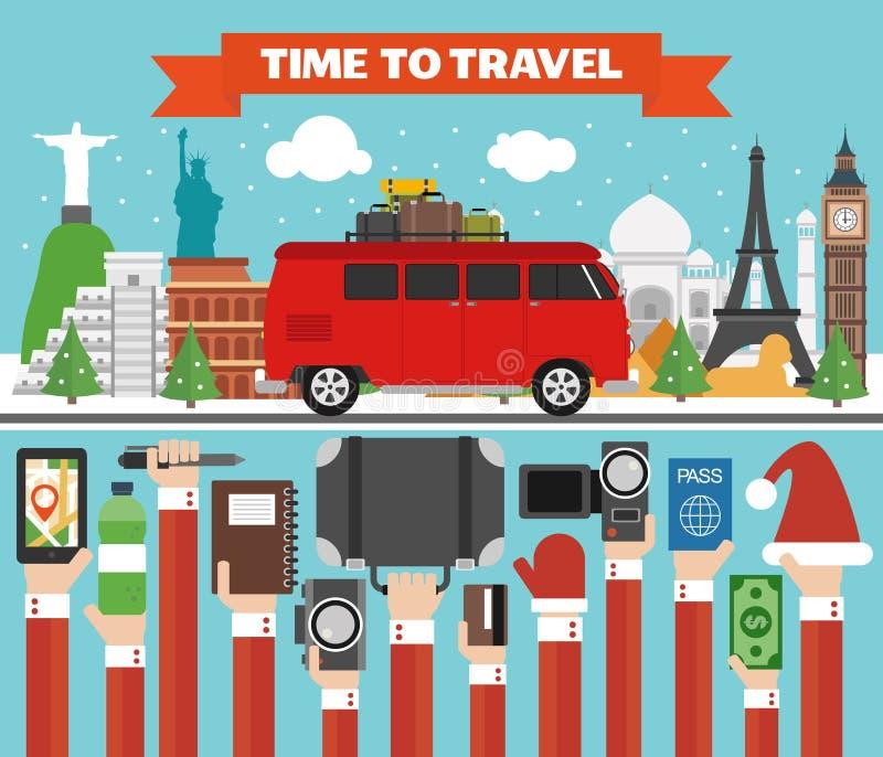 Neujahrsfeiertag-Welttourneen entwerfen flach mit Microbus lizenzfreie abbildung