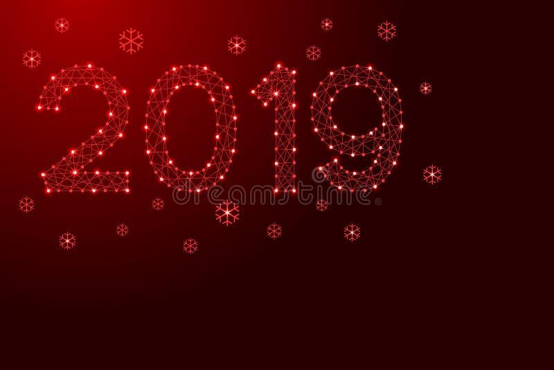 Neujahrsfeiertag Zahl des Datums 2019 mit Schneeflocken von den futuristischen polygonalen roten Linien und glühenden Sternen für lizenzfreie abbildung