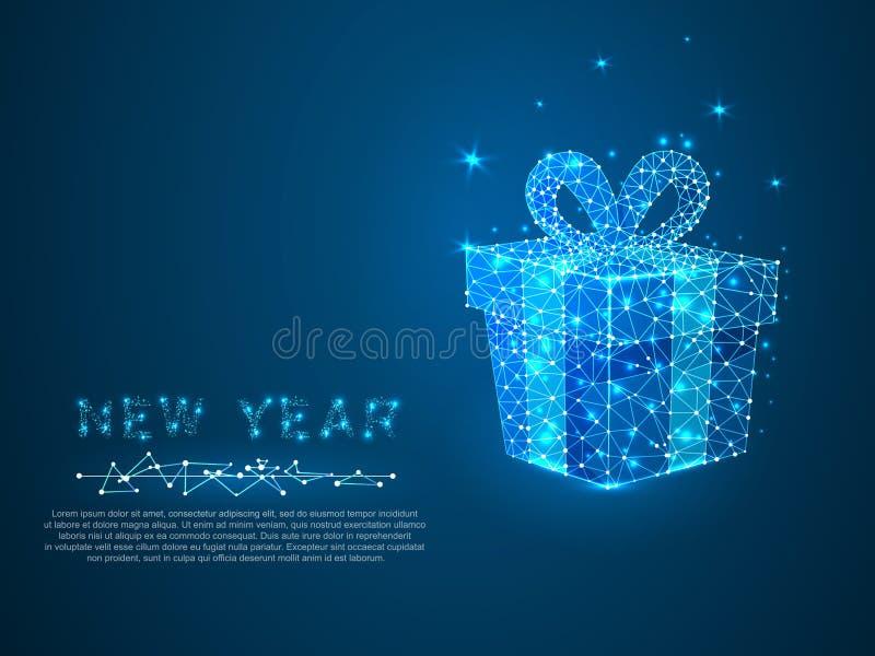 Neujahrsgeschenk mit Polygonlinie Polygonaler Raum niedriges Polyfeiertag wireframe Konzept Verbindungsstruktur Vektor stock abbildung