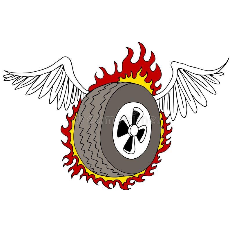 Neumático con alas ilustración del vector