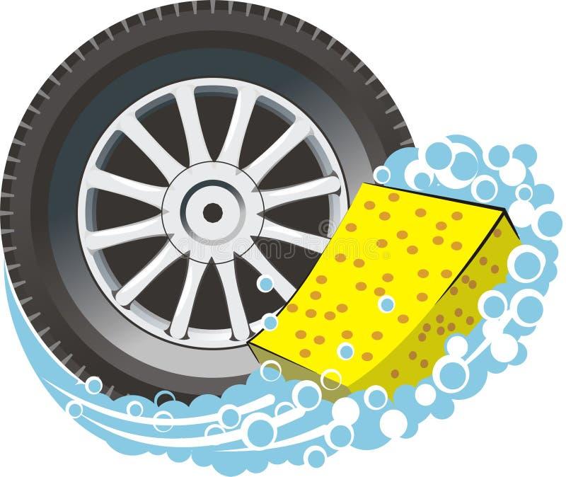 Neumático de coche con la esponja libre illustration
