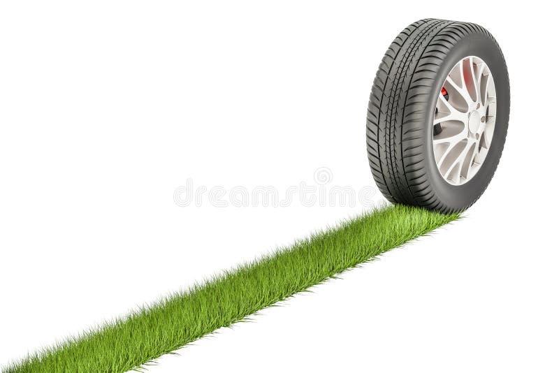 Neumático de coche con la impresión de la hierba, concepto del eco representación 3d stock de ilustración