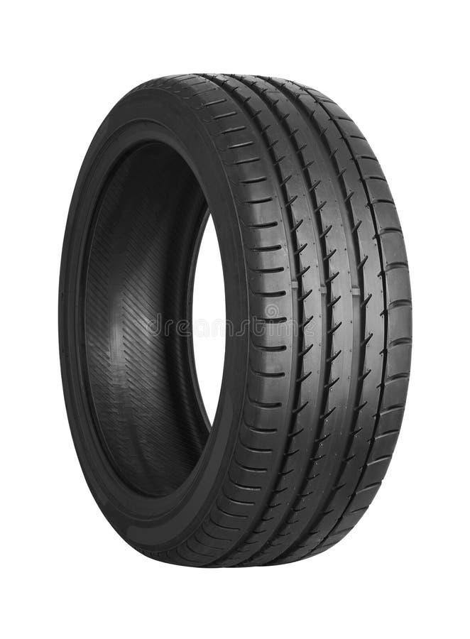 Neumático de coche en blanco foto de archivo