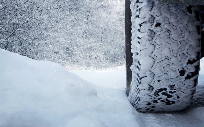 Neumático de coche en la nieve fotos de archivo