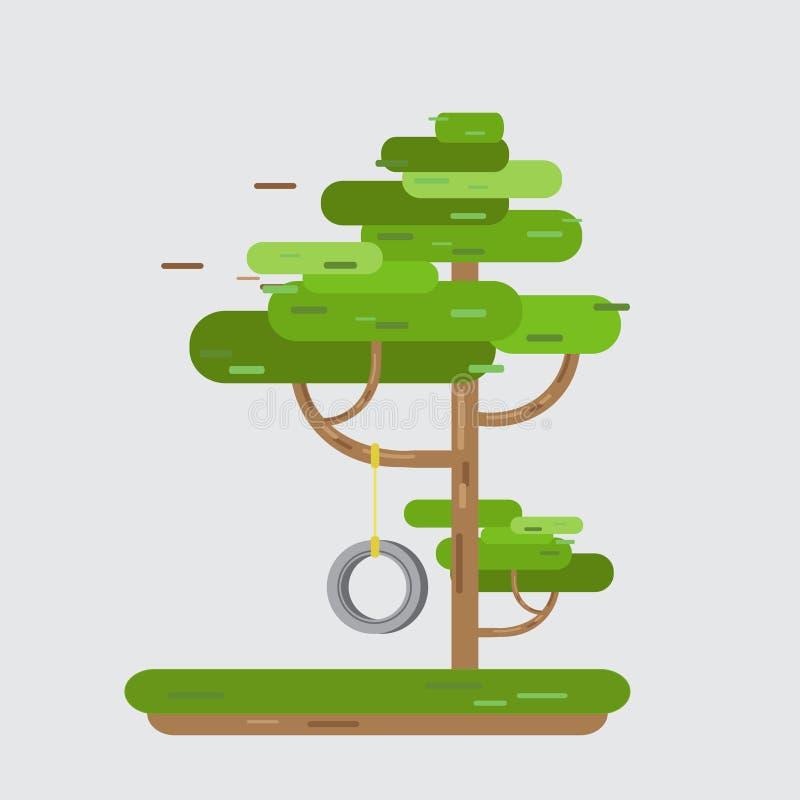 Neumático del oscilación en árbol en parque stock de ilustración