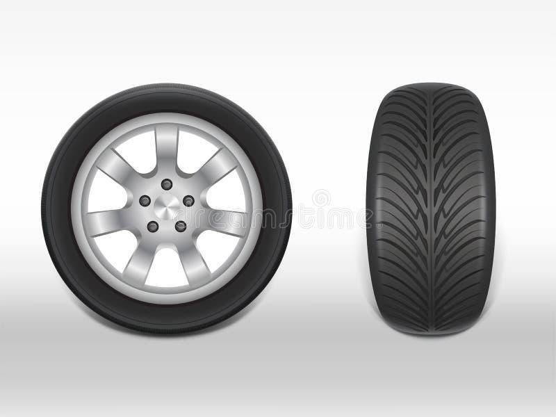 Neumático negro realista del vector 3d con la pisada stock de ilustración