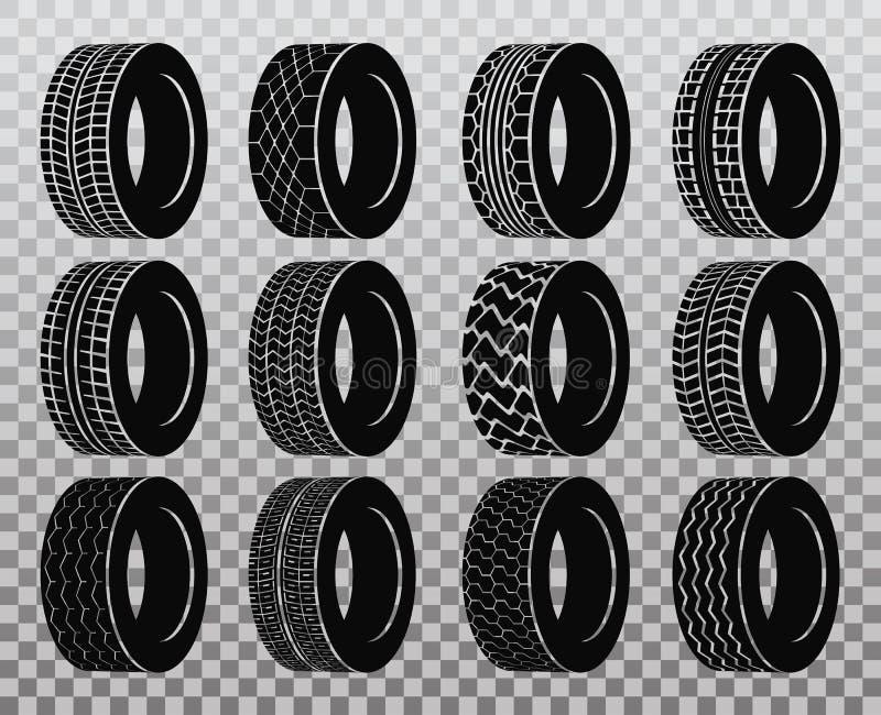 Neumático o rueda aislado para el camión o el autobús, neumático del automóvil libre illustration