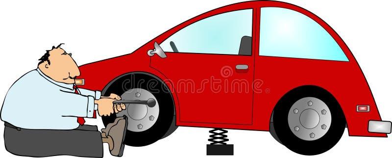 Neumático plano ilustración del vector